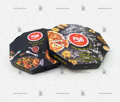 جعبه پیتزا هشت ضلعی چاپ افست مشکی