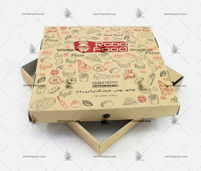 جعبه پیتزا کرافت چاپ دو رنگ