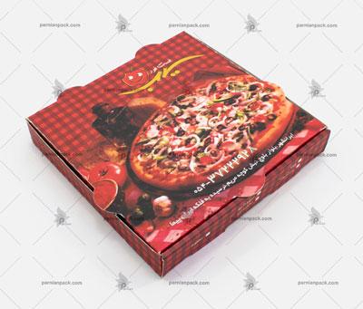 جعبه پیتزا چاپ قرمز و مشکی مربعی