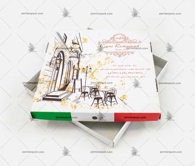 جعبه پیتزا سفید چاپ افست