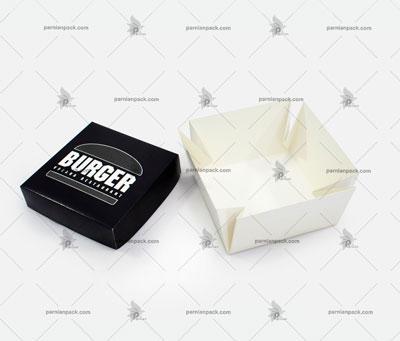 جعبه برگر چا اختصاصی مشکی مربعی