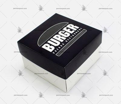 جعبه برگر چا اختصاصی مشکی دو تکه