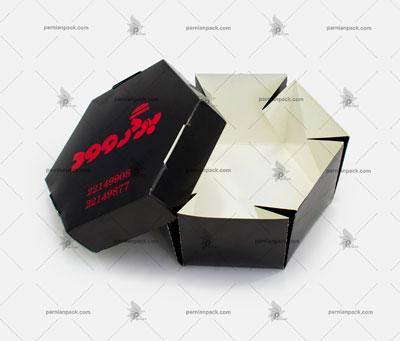 جعبه همبرگر شش ضلعی چاپ اختصاصی مشکی باز
