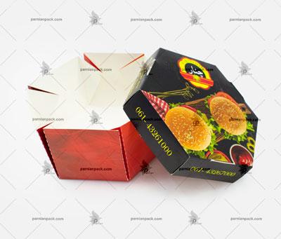 جعبه شش ضلعی چاپ اختصاصی باز برگر