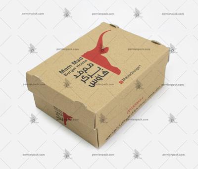 جعبه برگر کرافت چاپ اختصاصی سفره ای دو رنگ
