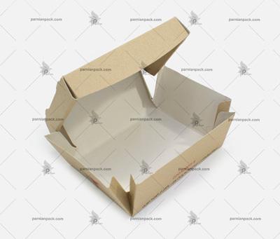 جعبه برگر چاپ اختصاصی کرافت سفره ای دو رنگ 1
