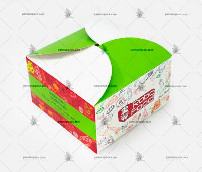 جعبه همبرگر چاپ اختصاصی سبز و زرد