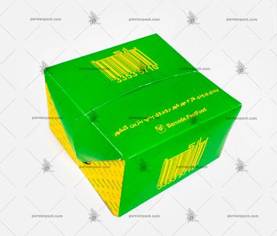 جعبه همبرگر چاپ سبز و زرد درب قفلی