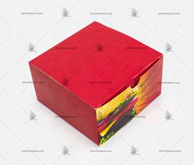 جعبه برگر چاپ عمومی قرمز درب از بالا بسته