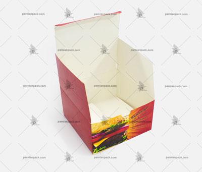 جعبه همبرگر چاپ عمومی قرمز درب از بالا