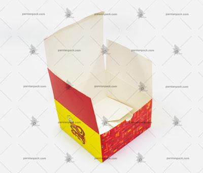 جعبه برگر چاپ اختصاصی قرمز زرد درب از بالا