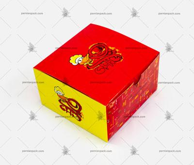 جعبه همبرگر چاپ اختصاصی قرمز زرد درب از بالا