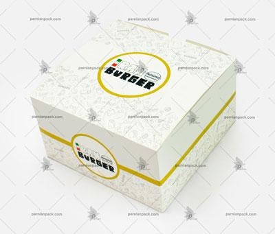جعبه همبرگر چاپ اختصاصی پترن درب از بالا