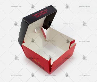 جعبه برگر چاپ اختصاصی قرمز مشکی سفره ای1