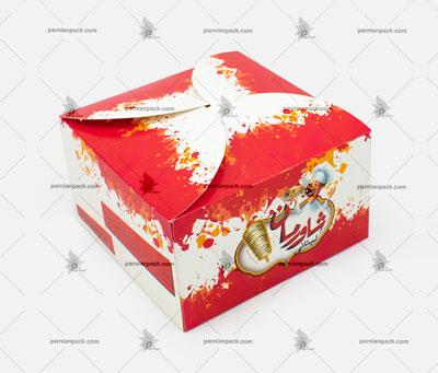 جعبه برگر چاپ اختصاصی قرمز درب هلالی
